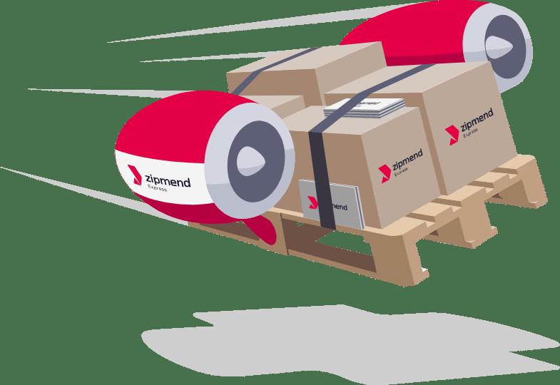 zipmend Express Kurierdienst - Pakete und Briefe auf Palette mit Turbinen